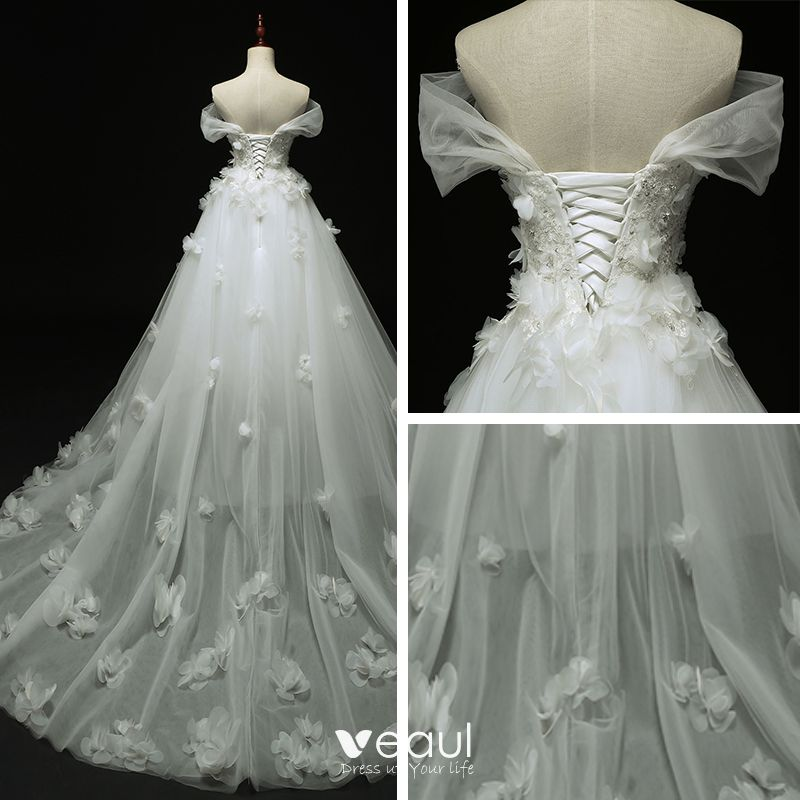 Chic / Beautiful Church Wedding Dresses 2017 White Ball Gown Cathedral Train Off-The-Shoulder Short Sleeve Backless Lace Appliques Flower Sequins Rhinestone Pearl