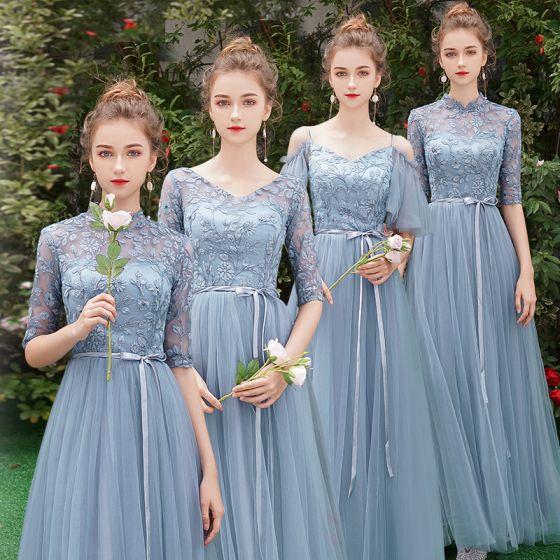 ddc237c3b Asequible Azul Cielo Transparentes Vestidos De Damas De Honor 2019 A-Line    Princess 1 2 Ærmer ...