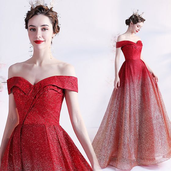 Sparkly Sexy Gradient-Color Red Prom Dresses 2021 A-Line / Princess Off-The-Shoulder Glitter Sequins Sleeveless Backless Floor-Length / Long Formal Dresses