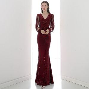 Sparkly Burgundy Sequins Evening Dresses  2020 Trumpet / Mermaid V-Neck 3/4 Sleeve Floor-Length / Long Formal Dresses