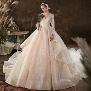 Elegant Ball Gown Champagne Empire Pregnant Wedding Dresses 2020 V-Neck Beading Sequins Lace Flower Long Sleeve Backless Cathedral Train