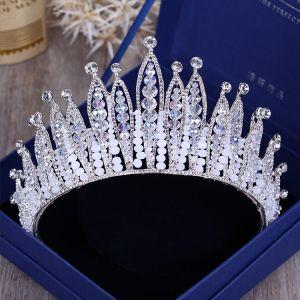 Luksusowe Srebrny Tiara 2018 Metal Kryształ Rhinestone Frezowanie Akcesoria