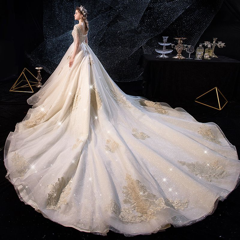Luxury / Gorgeous Champagne Wedding Dresses 2019 A-Line / Princess See-through Deep V-Neck Short Sleeve Beading Tassel Backless Appliques Lace Glitter Tulle Cathedral Train