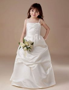 White Spaghetti Satin Flower Girl Dress