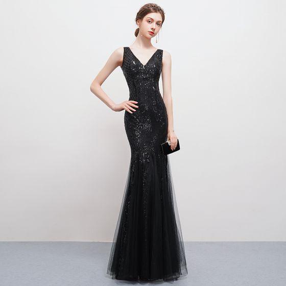 676da0c73ec Sexy Bling Bling Noire Longue Robe De Soirée 2018 Trompette   Sirène Tulle V -Cou Dos Nu Perlage Paillettes ...