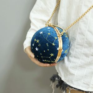 Amazing / Unique Ocean Blue Suede Star Embroidered Metal Clutch Bags 2018