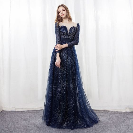 Sparkly Starry Sky Navy Blue Evening Dresses  2018 A-Line / Princess Scoop Neck Long Sleeve Rhinestone Satin Sash Floor-Length / Long Backless Pierced Formal Dresses