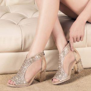 Chic / Belle 2017 Doré Jardin / Extérieur Cuir Été Faux Diamant Talon Mid Talons Épais 7 cm Pantoufle Peep Toes / Bout Ouvert Escarpins