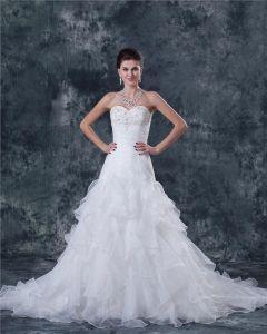 Garn Gebördelte Trägerlose Gerichts A-linie Brautkleider Hochzeitskleid