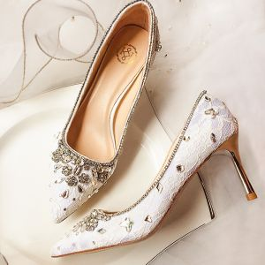 Charming Ivory Wedding Shoes 2020 Leather Lace Rhinestone 7 cm Stiletto Heels Pointed Toe Wedding Pumps