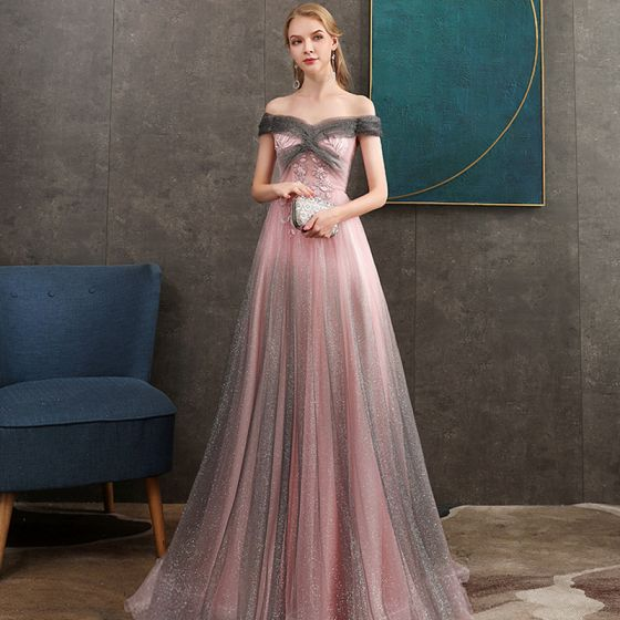 Elegant Grey Candy Pink Evening Dresses  2020 A-Line / Princess Off-The-Shoulder Short Sleeve Appliques Lace Beading Glitter Tulle Floor-Length / Long Ruffle Backless Formal Dresses