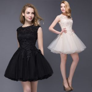 Chic / Beautiful Party Dresses 2017 Champagne Short A-Line / Princess Scoop Neck Sleeveless Lace Appliques Formal Dresses