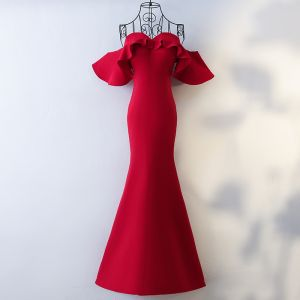 Sexy Red Evening Dresses  2017 Trumpet / Mermaid Sweetheart Strapless Zipper Up Short Sleeve Ankle Length Evening Party