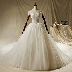 Luxury / Gorgeous Ivory Wedding Dresses 2019 A-Line / Princess Off-The-Shoulder Beading Pearl Lace Flower Short Sleeve Backless Cathedral Train