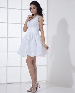 Spitze V-ausschnitt Kurz Mini Brautkleider / Abschlussballkleider