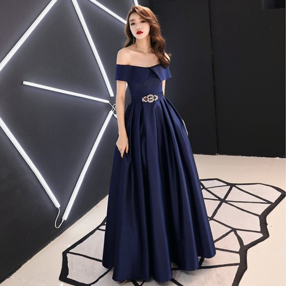 Chic / Beautiful Navy Blue Satin Evening Dresses  2019 A-Line / Princess Off-The-Shoulder Short Sleeve Rhinestone Sash Floor-Length / Long Ruffle Backless Formal Dresses