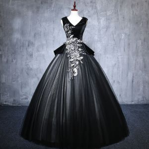 Elegant Black Prom Dresses 2019 Ball Gown V-Neck Suede Appliques Lace Crystal Sleeveless Backless Floor-Length / Long Formal Dresses