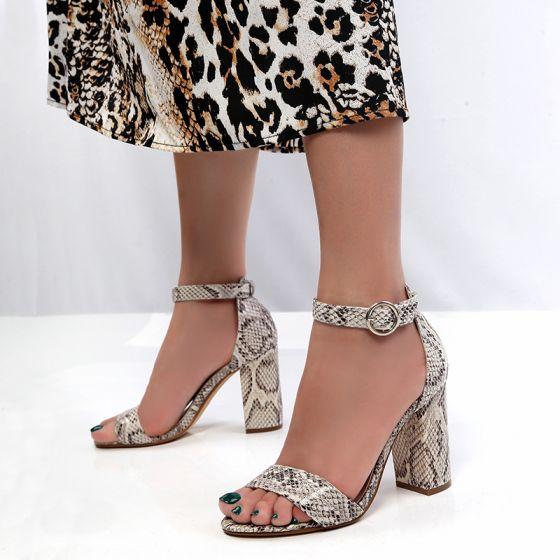 Sencillos Ropa de calle Snakeskin Imprimir Sandalias De Mujer 2020 Correa Del Tobillo 10 cm Talones Gruesos Peep Toe Sandalias