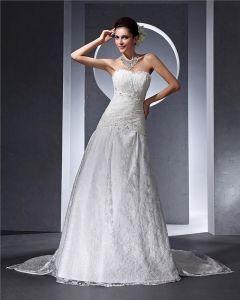Schatz-rüsche-perlen Bodenlangen Spitze Frau A Linie Hochzeitskleid