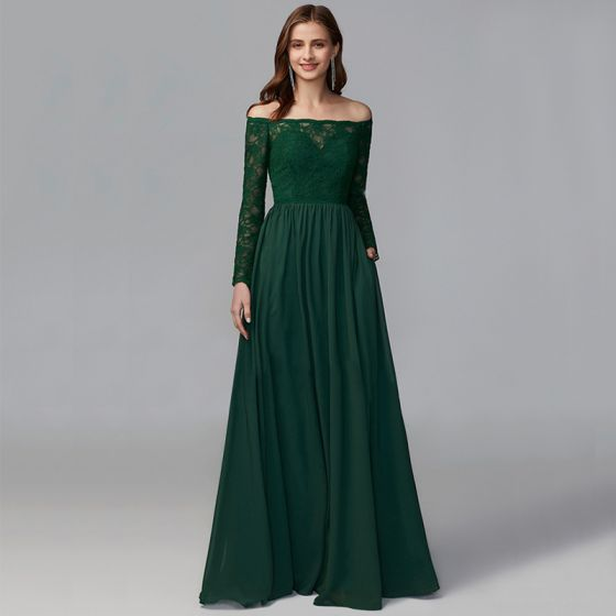Modest / Simple Green Mother Of The Bride Dresses 2020 A-Line / Princess Floor-Length / Long Long Sleeve Zipper Up at Side Off-The-Shoulder Backless Embroidered Wedding Evening Party Wedding Party Dresses