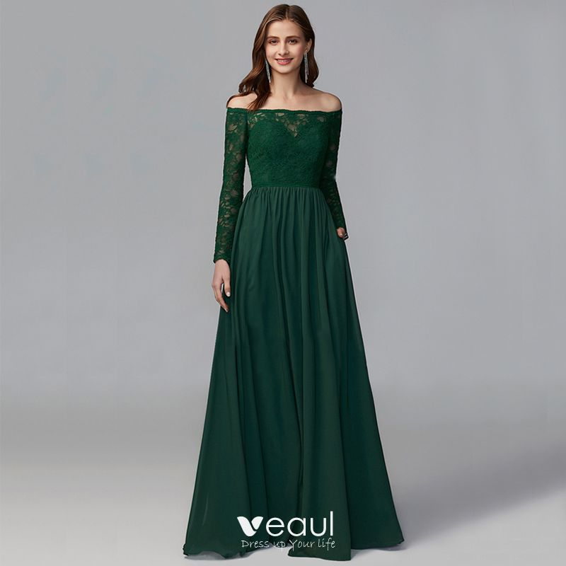 Modest / Simple Green Mother Of The Bride Dresses 2020 A