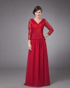 Langlebig V-ausschnitt Bodenlangen Chiffon Mutter Der Braut Special Guests Kleid