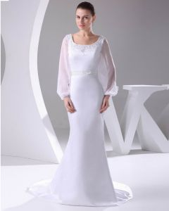 Elegant Satin Chiffon Lacework Beading Square Neck Floor Length Women Wedding Dress