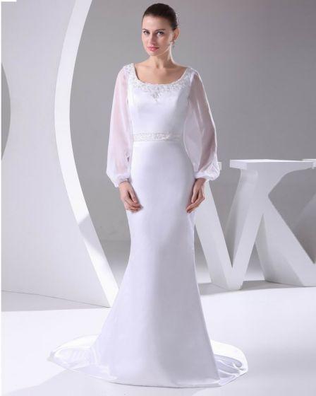 Elegant Satin Chiffon Lacework Beading Square Neck Floor Length Women Wedding Dress