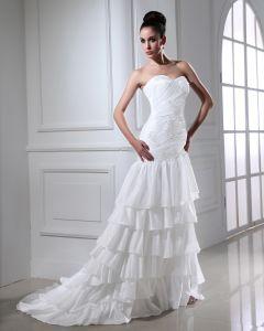Taft Applikationer Beading Alskling Kort Brudklänningar Bröllopsklänningar