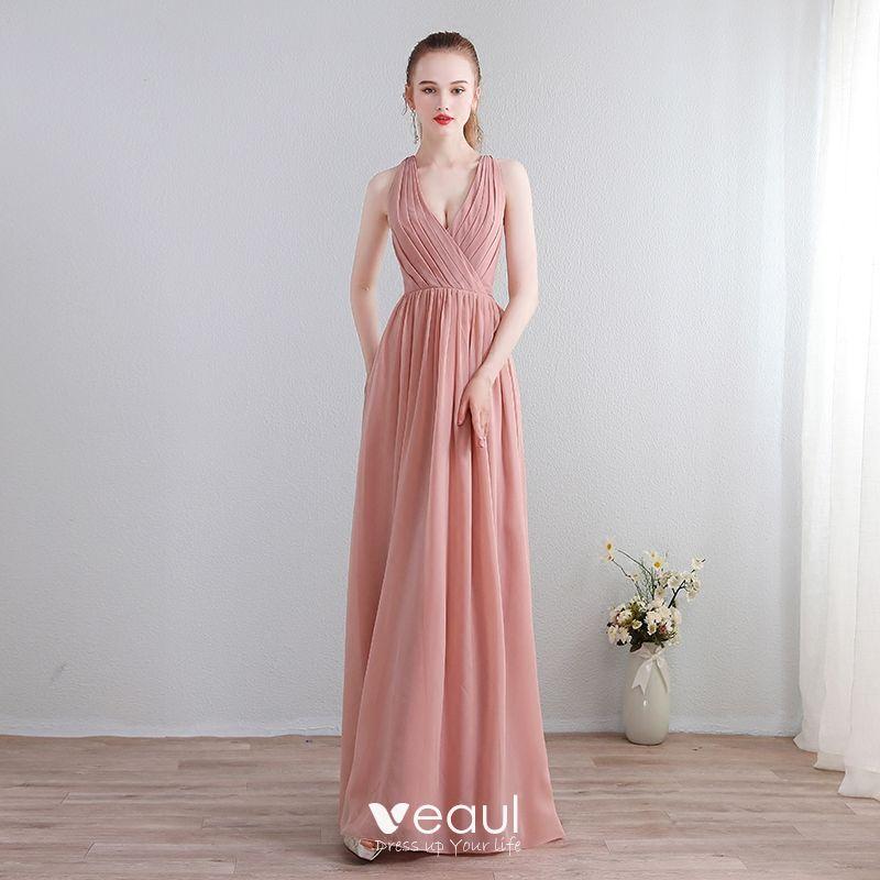 Kleider rosa chiffon lang Adrianna Papell