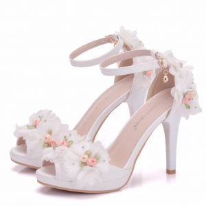 Modern / Fashion White Wedding Shoes 2018 Appliques Rhinestone Ankle Strap 8 cm Stiletto Heels Open / Peep Toe Wedding High Heels