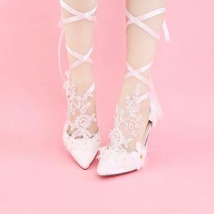 Chic / Beautiful White Wedding PU Appliques Beading Rhinestone Wedding Shoes 2018
