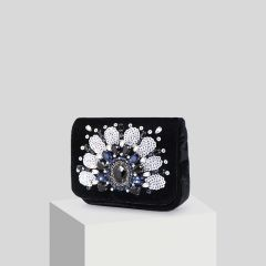 Chic / Beautiful Black Suede Pearl Rhinestone Sequins Clutch Bags 2019
