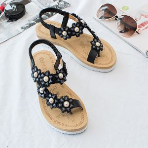 Chic / Beautiful Summer Black Street Wear Slipper & Flip flops 2020 Rhinestone Lace Flower Open / Peep Toe Womens Shoes