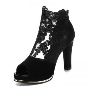 Chic / Beautiful Black Evening Party Lace Pierced Womens Boots 2020 8 cm Thick Heels Open / Peep Toe Boots