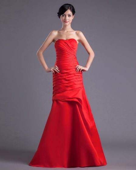 Fashion Satin Pleated Sweetheart Floor Length Bridesmaid Dress