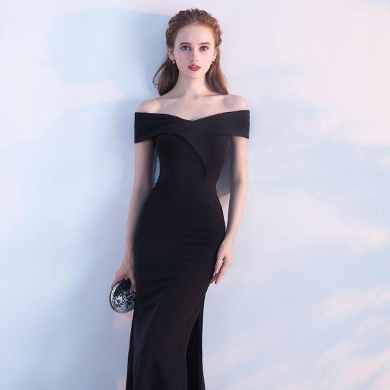 Elegante Klassisch 2017 Reißverschluss Schwarz Satin Spaghettiträger Kirche Cocktail Abend Sommer Mermaid Abendkleider