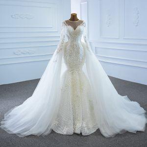 Luxus Hvide Bryllups Brudekjoler 2020 Balkjole Gennemsigtig Scoop Neck Langærmet Applikationsbroderi Med Blonder Beading Perle Aftagelig Chapel Train Flæse