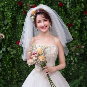 Eenvoudige Witte Huwelijk Korte Tule Bruidssluier 2019
