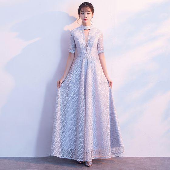 Piękne Srebrny Sukienki Wieczorowe 2017 Tiulowe Skrzyżowane Pasy Bez Pleców Frezowanie Rhinestone Wysokiej Szyi Sukienki Wizytowe
