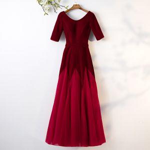 Chic / Belle Bordeaux Robe De Bal 2019 Princesse Daim Encolure Dégagée 1/2 Manches Dos Nu Longue Robe De Ceremonie