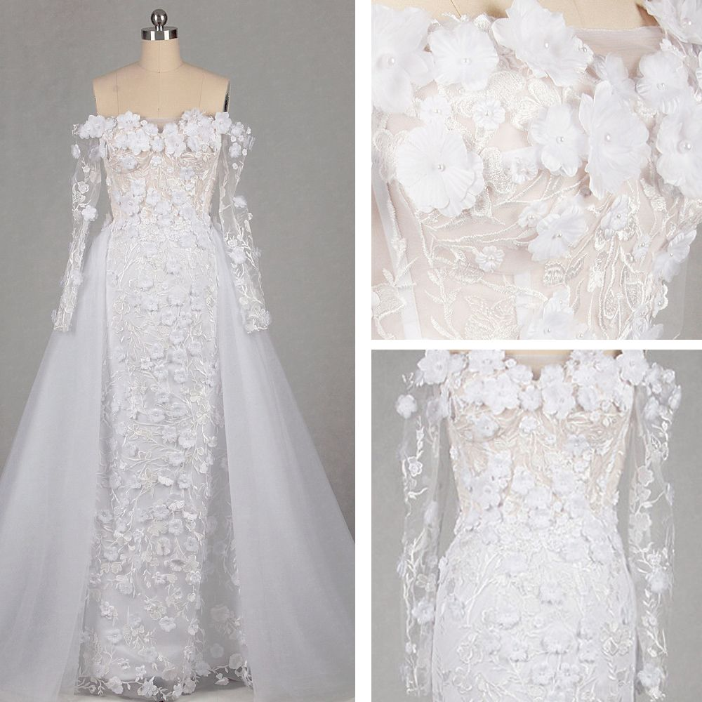 Flower Fairy Ivory Court Train Wedding 2018 Trumpet / Mermaid Long Sleeve Tulle Appliques Backless Beading Pierced Strapless Wedding Dresses