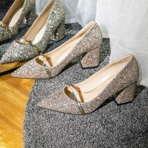 Brillante Oro Rosa Zapatos de novia 2020 Perla Lentejuelas 7 cm Talones Gruesos Punta Estrecha Boda Tacones