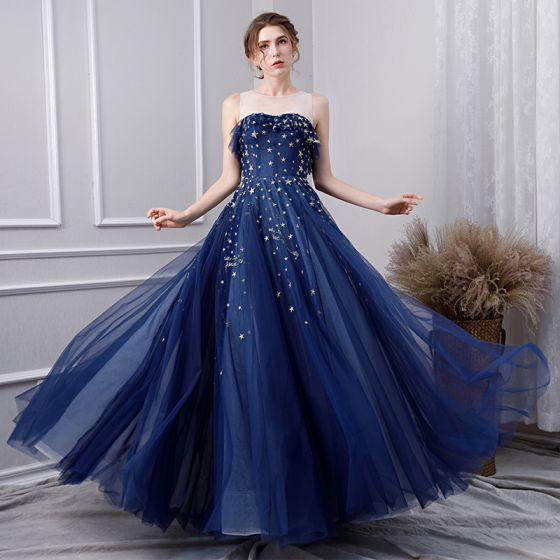Modern / Fashion Navy Blue Prom Dresses 2019 A-Line / Princess Scoop Neck Lace Star Sleeveless Backless Floor-Length / Long Formal Dresses