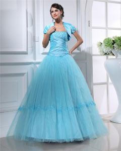 Ball Gown Strapless Floor Length Tulle Satin Quinceanera/Prom Dresses
