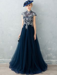 Cheongsam Improved Evening Dresses 2017 High Neck Beading Applique Lace Ruffle Navy Blue Tulle Dress