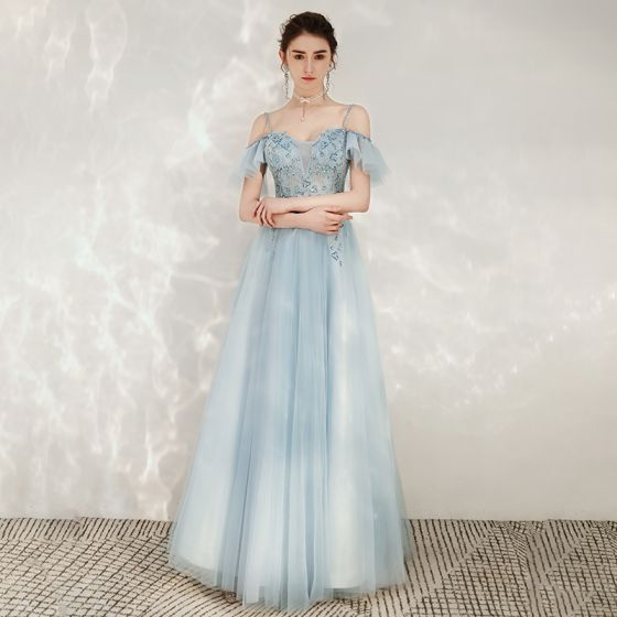 Chic / Beautiful Sky Blue Evening Dresses  2020 A-Line / Princess Spaghetti Straps Off-The-Shoulder Short Sleeve Beading Floor-Length / Long Ruffle Backless Formal Dresses