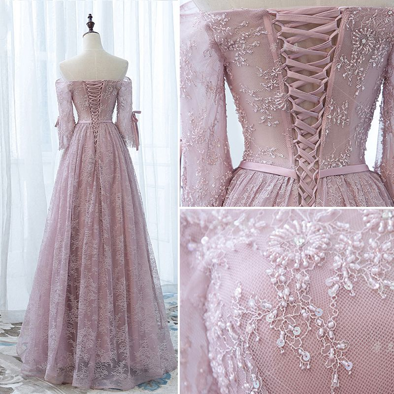 Chic / Beautiful Evening Dresses  2017 Off-The-Shoulder 1/2 Sleeves Beading Bow Sash Ruffle Lace Floor-Length / Long Formal Dresses