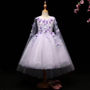 Chic / Beautiful Lavender Flower Girl Dresses 2017 Ball Gown Lace Appliques Scoop Neck Backless Sleeveless Tea-length Wedding Party Dresses
