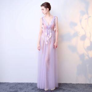 Chic / Belle Violet Robe De Soirée 2017 Princesse V-Cou Dentelle Feuille Dos Nu Perlage Fait main Soirée Robe De Ceremonie